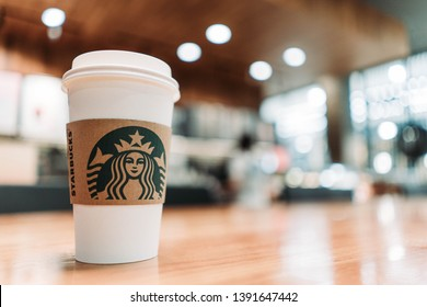 28 April 2019; Bangkok Thailand: Background of Starbucks Hot espresso coffee cup at Starbucks Coffee shop.