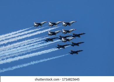 28 April 2020, New York - Formation of US Navy Blue Angels and Thunderbirds fly over New York City area to honor frontline workers of the coronavirus pandemic.