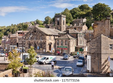 28 August 2015: Holmfirth, West Yorkshire, England, UK - The busy town centre.