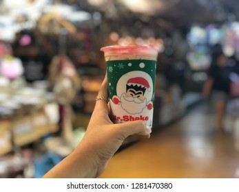 28 Dec 2018; Bangkok Thailand: Mr.Shake Thai bubble milk tea in Christmas cup collection
