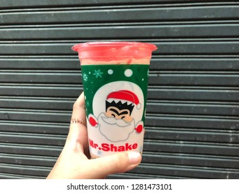 28 Dec 2018; Bangkok Thailand: Mr.Shake Thai bubble milk tea in Christmas cup