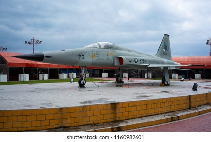 28 February 2018, Hualien Taiwan : Northrop taiwanese F5E fighter jet exposed in Hualien Taiwan