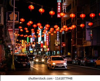 28 February 2018, Hualien Taiwan : Hualien street view at night with red lanterns for Chinese new year celebration