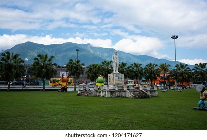 28 February 2018, Hualien Taiwan : Hualien railway station park in front of the train station and mountains in background in Hualien Taiwan