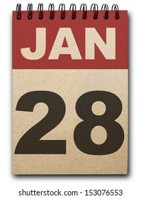 28 January calendar on recycle paper