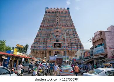 28 JUL 18 : The Sri Ranganathaswamy Temple, thr biggest hindu temple in India, Tiruchirappalli or Trichy, Tamil Nadu - India