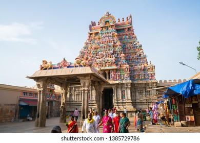 28 JUL 18 : Unnamed Indian People around The Sri Ranganathaswamy Temple, the biggest hindu temple in India, Tiruchirappalli or Trichy, Tamil Nadu - India