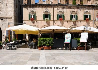 28 july 2014-ascoli piceno-italy-bars in the  piazza del popolo in the beautiful city of Ascoli Piceno