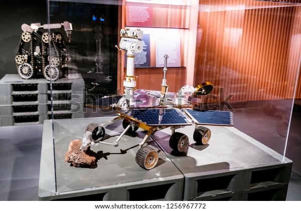 28 JULY 2018, BARCELONA, SPAIN: robotic Mars rover in Space department of Cosmocaixa museum
