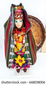 28 june 2017, Uzbekistan, Tashkent, gift shop in Tashkent, Uzbek souvenirs Uzbek woman doll in national colorful clothes