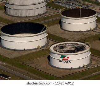 28 June 2018, Rotterdam, Holland. Aerial view of petrol industrial zone in the Petroleum Harbour. Vopak is a Dutch company that stores and handles various oil, chemicals, edible oils and natural gas.