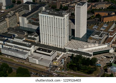 28 June 2018, Rotterdam, Holland. Aerial view of the Erasmus Medical Center, just before the opening after the hospital has been rebuilt.