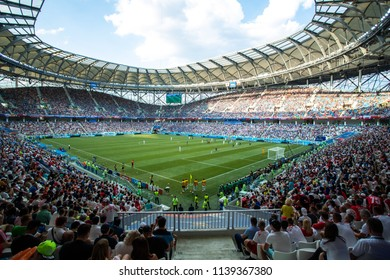 28 June 2018, Volgograd Russia. View of the football stadium Volgograd arena fans tribunes while FIFA world cup 2018 football match Poland-Japan