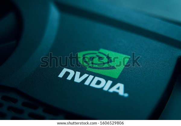 28 June 2019 Bishkek, Kyrgyzstan: Nvidia logo. Mark of famous company of video cards. Inventor of the GPU.