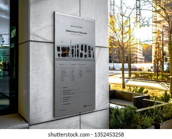 28 Mar 2019, Oslo, Norway, Informatio board of Beautiful modern buildings, Oslo's Barcode district rises from the fjord like an urban and super trendy in Norway.