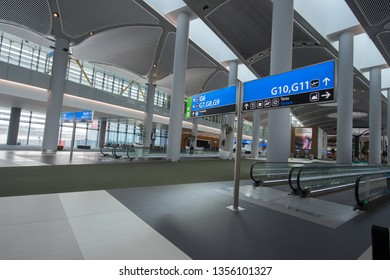 28 March 2019 Istanbul-Turkey: Istanbul new airport .  The interior of the arrivals area (upper floor) and the departure area (lower floor)