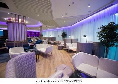 28 March 2019 Istanbul-Turkey: Istanbul new airport .  The interior of the arrivals area. Rooms at Yotel