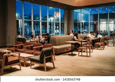 28 May 2019; Nonthaburi Thailand: Starbucks Cafe Interior Work Space at Starbucks Coffee Shop