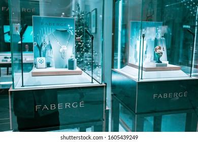 28 November 2019, UAE, Dubai: Faberge luxury jewelry store