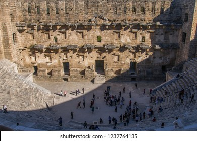 28 October 2018 The Theatre of Aspendos Ancient City in Antalya. Aspendos or Aspendus was an ancient Greco-Roman city. Famous historical landmark of Turkey. Founded in the 5th century BC.