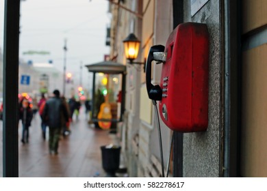 28/01/2017, Russia, St. Petersburg, Nevsky Prospekt, Red Telephone Payphone.