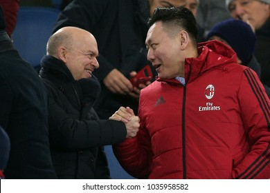 28.02.2018. Stadio Olimpico, Rome, Italy. Tim Cup 2018.Marco Fassone and LI YONGHONG in the semifinal Tim Cup 2018 football match between SS Lazio vs Ac MIlan at Stadio Olimpico in Rome.