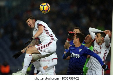 28.02.2018. Stadio Olimpico, Rome, Italy. Tim Cup 2018. Romagnoli in action during the semifinal Tim Cup 2018 football match between SS Lazio vs Ac MIlan at Stadio Olimpico in Rome.