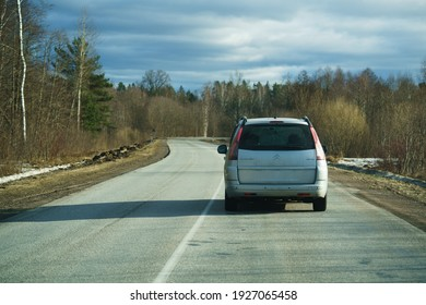28-02-2021 Car driving on empty road, Poland, Europe.