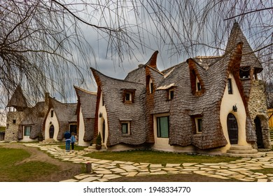 28.03.2021 Sibiu, Romania. Clay Castle at Valley of Fairies in Sibiu county, Romania. Photographed from the yard of the castle