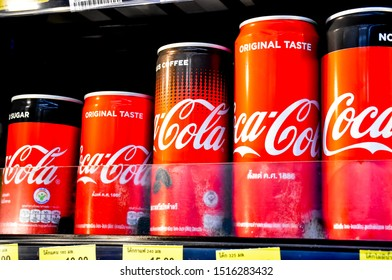 Lop​Buri​-Thailand​, 28/09/2019: Cans of Coca-Cola, a carbonated soft drink manufactured by The Coca-Cola Company headquartered in Atlanta, Georgia, USA