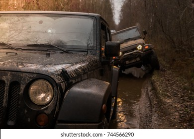 28.10.2017. Arkhangelsk tract. Leningrad region. Russia. check out offroad in a jeep Wrangler. Wrangler is a compact SUV manufactured by Chrysler