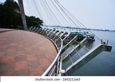 28.10.2020, kochi,kerala india. famous rainbow bridge situated at marine drive Kochi