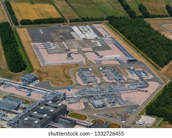 2-8-2018, Langelo, Holland. Aerial view of underground gas storage location of NAM NORG UGS, Groningen. Factory distribution, and industrial processing of natural gas. Many pipelines and construction.