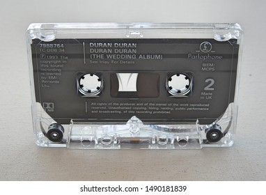 28th August 2019, Dublin, Ireland. A music cassette tape on a white background.