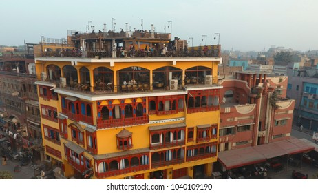 28th January 2018 - Lahore, Pakistan:  a roof top restaurant in inner city in Lahore, Pakistan. Depiction of tourism and beautiful inner city life.
