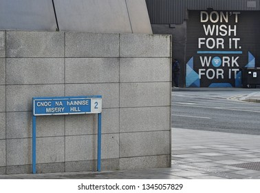 28th January 2019, Dublin, Ireland. Misery Hill street sign in English and Irish language, the location of Facebook's European head office.