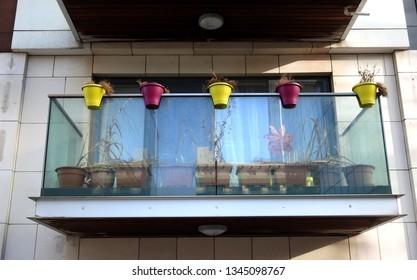 28th January 2019, Dublin, Ireland. . Apartment balcony with colourfull plant pots.