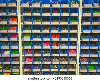28th September 2018. Finland, Espoo, store called motonet. Colorful fishing lures in store.
