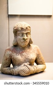 29. 07. 2015, LONDON, UK,  BRITISH MUSEUM - Painted clay statue of woman