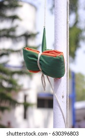 29 April 2017 Guwahati, Assam, India. Ready to hoist flag during Bharatiya Janata Party(BJP) state executive meeting at Rang Mahal Auditorium, Maligaon, Guwahati.