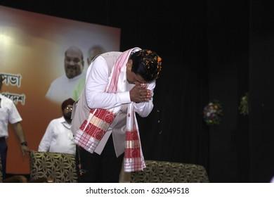 29 April 2017 Guwahati, Assam, India. Chief minister of Assam Sarbananda Sonowal  during Bharatiya Janata Party(BJP)state executive meeting at Rang Mahal Auditorium,Maligaon,Guwahati.