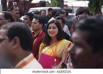 29 April 2017 Guwahati, Assam, India. Famous Assamese actress and MLA Angurlota  during Bharatiya Janata Party(BJP)state executive meeting at Rang Mahal Auditorium,Maligaon,Guwahati.