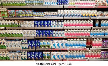 29 April 2018, Istanbul - Turkey: Macro center market fresh milk stand
