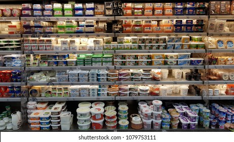 29 April 2018, Istanbul - Turkey: Macro center market cheese stand.