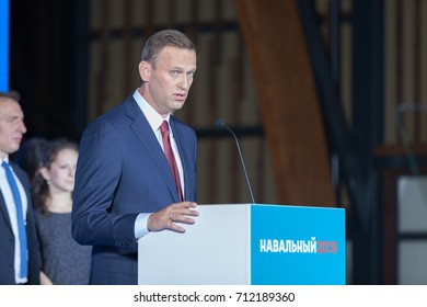 "29 August 2017, RUSSIA, MOSCOW : Leader of the Russian opposition Alexei Navalny  during the congress of headquarters ""Stabicon"" of the presidential election campaign in Moscow, Russia."