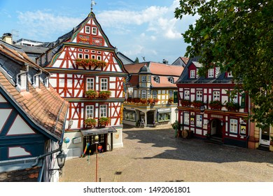 29 August 2019: Colorful Half-timbered house, houses on marketplace in Idstein, Hessen (Hesse), Germany. Nearby Frankfurt am Main, Wiesbaden