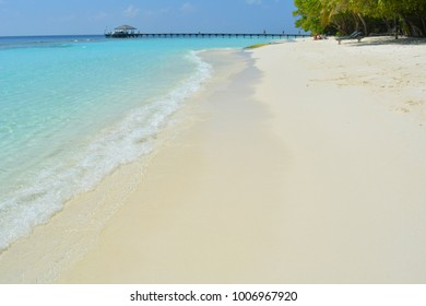 29 December 2017 Royal Island, Maldives. Sunny day on the beach in Maldives