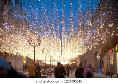 29 JANUARY 2018, MOSCOW, RUSSIA. Nikolskaya street on the evening