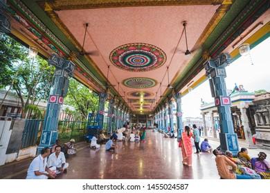 29 JUL 18 : Unidentify people walking around Arulmigu Sri Parthasarathy Temple, Chennai, Tamil Nadu - South India