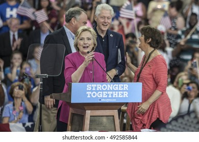 29 July 2016 - Philadelphia,PA - Secretary Hillary Clinton Democratic Presidential Nominee rally in Philadelphia (l-r Tim Kaine, Hillary Cinton, Bill Clnton & Anne Holton).